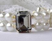 Black diamond Swarovski rhinestone and pearl bracelet / ivory pearl bracelet / gift for her / double strand / black and white / wife gift