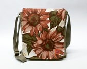 Canvas messenger bag upcycled with floral 70s fabric