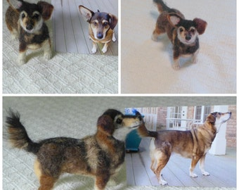 Custom Pet Portrait  / Your Pet in Miniature / Cute / Handmade Poseable Art Sculpture / Mixed breed