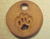 Ready To Ship - Extra Small Handmade Clay Pottery Pendant Charm or Mini Ornament - Paw Print