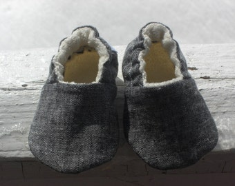 Black Linen,Baby Shoes, Baby Slippers, Denim, Linen, Cotton, organic cotton fleece lined, Gender neutral
