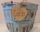 Wedding Card Basket-Card Box-Rustic Card Holder- Painted and Distressed Wedding Decor