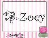 Kids name Rubber Stamp Self inking with lovebird and hearts --7536