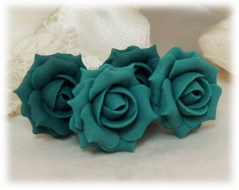 Teal Rose Earrings Stud or Clip On - Teal Rose Jewelry, Teal Flower Earrings