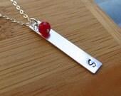 Vertical Bar Necklace, Birthstone Necklace, Contemporary Bridesmaids Necklaces,Weddings, Personalized Gift,Personalized Bar Necklace
