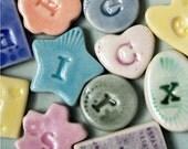 SALE Small Alphabet Magnet Set, 26 Porcelain Mosaic Magnets