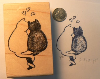Cat Love rubber stamp. P36, hand drawn