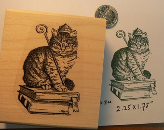 Royal cat rubber stamp Wood Mounted P34