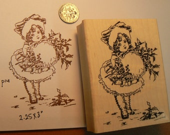 Little Christmas girl with muff rubber stamp WM P14