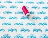 Mini Cooper Fabric / Car Print / Car Fabric / Novelty Fabric / Blue Car Print / Fat Quarters / Gift for Mini Owner