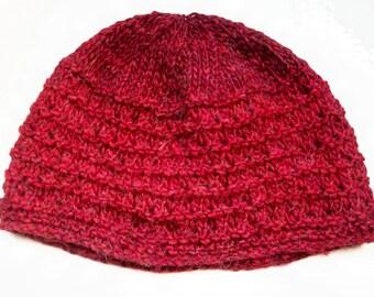 Classic beanie hat, warm wool alpaca, chestnut red brown