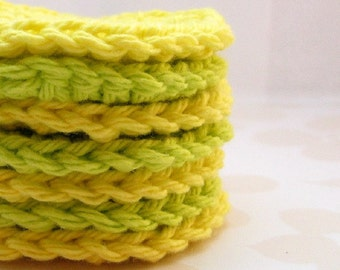 Crochet Face Scrubbies, Lime Green and Lemon Yellow Makeup Remover Pads
