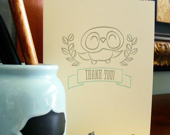 Owl Thank You Letterpressed Note Card 1pc
