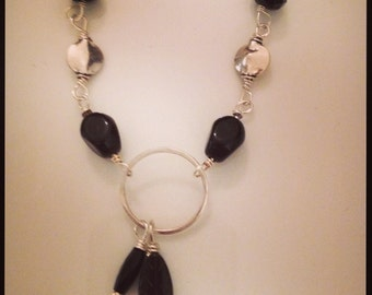 bracelet, silver and onyx