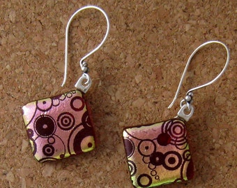 Red Dichroic Earrings - Fused Glass Jewelry - Glass Earrings - Dichroic Jewelry - Fused Glass Jewelry