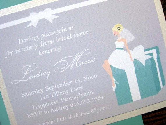 Wedding at Tiffany's - Blonde Bride - Set of 20 Mounted Invitations & Coordinating Envelopes