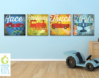 Set of 4 Transportation train car truck airplane graphic childrens wall art  gallery wrapped canvas by stephen fowler