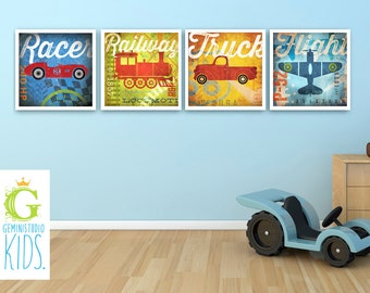 Set of 4 unframed Childrens Train Plane Car Truck art giclee archival signed artist's prints by stephen fowler Pick A Size