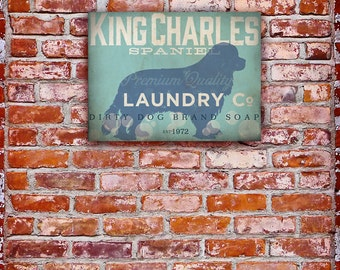 King Charles Spaniel Laundry Company illustration graphic art on canvas by stephen fowler