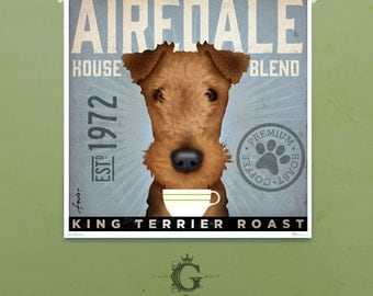 AIREDALE coffee company graphic art illustration giclee archival signed print by stephen fowler Pick A Size