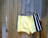 Vintage 70s Shorts California summer style Yellow Swimsuit Blue stripe Running shorts L 36 38