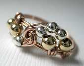 Rose Gold-Filled Wire Wrap Ring Mixed Metals Vortex - 14k Rose and Yellow Gold-Filled and Sterling Silver