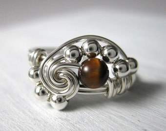 Math Ring Wire Wrapped Pi Ring Tigers Eye and Sterling Silver Math Jewelry