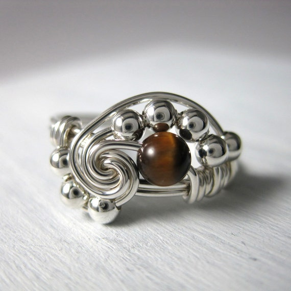Math Ring Wire Wrapped Pi Ring Tigers Eye And Sterling Silver