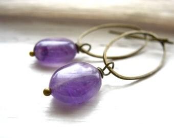 Amethyst Earrings, Amethyst Antiqued Brass Chandelier Hoop Dangle Drop Earrings, Handmade Metalwork Artisan Amethyst Jewelry