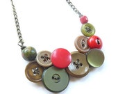Rustic Vintage Button Necklace in Red, Olive Green, and Tan