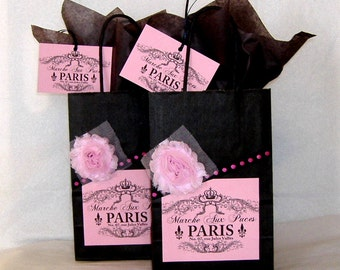 Set of Two French Paris Apartment Style Paper Gift Bags with Paris Flea Market Label, Fabric Flowers, & Matching Tags