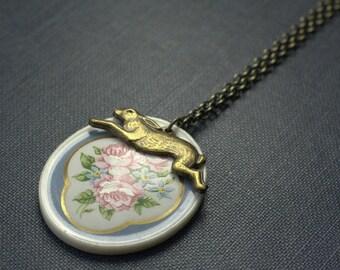 Rabbit necklace floral garden porcelain cameo vintage brass romantic bunny easter spring