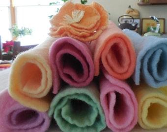 Hand Dyed Prefelt- Eight 8 X 8 inch sheets in pastel shades - merino wool prefelt