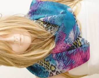 NEW LEOPARD Scarf, Chiffon Scarf, Blue and Pink...Spring Scarf