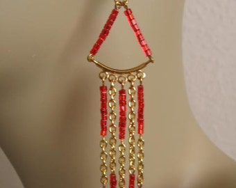 Chain Dangle Earrings - Red