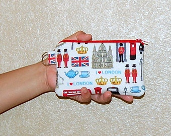 I Love London - iPhone 6s, iPhone 6, iPhone 5, iPhone 4, Samsung Galaxy S5/S6 - Cell Phone Gadget Zipper Pouch / Coin Purse