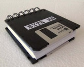 BYTE ME Floppy Disk Recycled Blank Mini Notebook in Black JUMBO