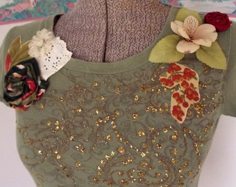 Repurposed Knit Top, Olive Green, Gold, Boho, Altered Couture, Handmade Flowers, Lace, WAS 34