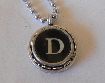 Recycled jewelry, Initial Necklace, Typewriter Key Necklace,  Vintage, Initial Jewelry,  All Letters A-Z