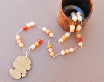 Agate and Bamboo Silhouette Necklace