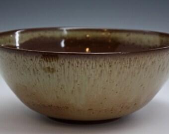 Ceramic Bowl - Serving Bowl - Handmade Bowl - Green Bowl - Brown Bowl - ready to ship 913-1