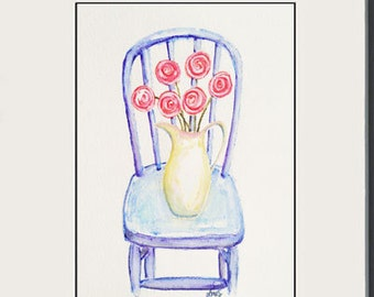 Pink Posies - Ranunculus Flowers on Blue Chair - still life - whimsical Watercolor Art painting - 5x7
