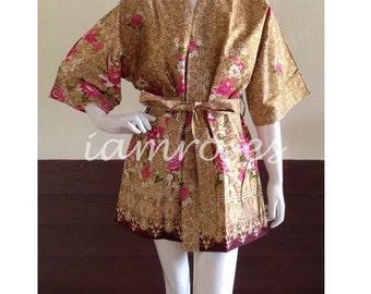 Gold Printed Flower Kimono Batik Floral Short Robe S - L