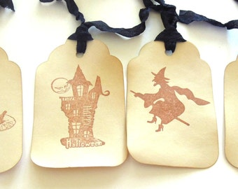 Vintage Inspired Halloween Gift Tags - Set of 4 Tags