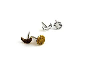 Moon phase earrings-- crescent & full