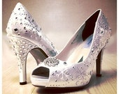 Wedding Shoes  snowflakes shoes, rhinestones , White winter wedding,  bridal peep toes , winter wonderland wedding, snowflakes wedding ,Dani