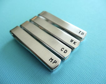 Set of 4 Personalized Tie Bars - Initials - Custom Tie Clips - Hand Stamped Tiebars