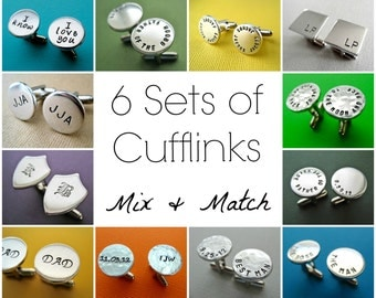 6 Sets of Personalized Cufflinks - Mix and Match Any Style - Custom Hand stamped Cuff links