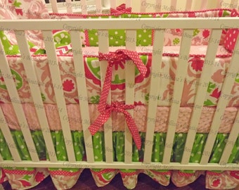 Custom Hot & Baby Pink with Chartreuse Green 4-Piece Complete Boutique Crib Nursery Bedding Set with Piping