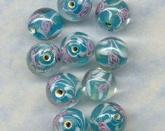 12 Aqua Flowered Glass Beads Vintage Czechoslovakian 12mm